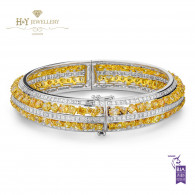 White Gold Mixed Cut Fancy Vivid Yellow Diamond Bangle - 26.39 ct