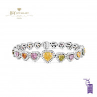 White Gold Fancy Diamond Heart Shape Bracelet - 7.78 ct