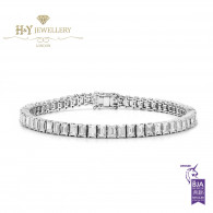 White Gold Emerald Cut Diamond Tennis Bracelet - 9.37 ct