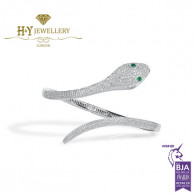 White Gold Brilliant Cut Snake Design Diamond Bracelet set with Emeralds - 1.75 c