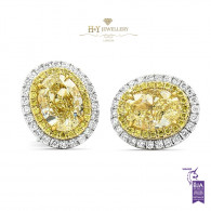 Oval Fancy Yellow Diamond Earrings - 4.91 ct
