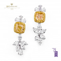 White gold Fancy Yellow Earrings - 7.64 ct