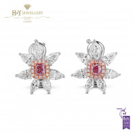 White Gold Flower Fancy Pink and White Diamond Earrings - 2.19 ct