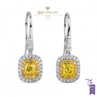 Fancy Yellow Cushion Cut Diamond Earrings - 1.68 ct
