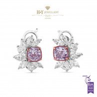 Fancy Cushion Cut Pink Diamond and Marquise Cut Diamond Earrings - 2.43 ct