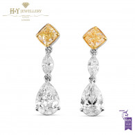 White Gold Cushion and Pear Cut Diamond Earrings - 3.16 ct