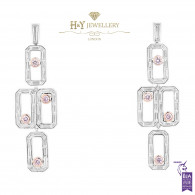 White Gold Chandelier Fancy Pink Diamond Earrings - 4.63 ct