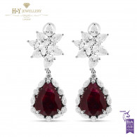White Gold Pear Cut Mozambique Vivid Red Ruby and Diamond Earrings - 17.22 ct