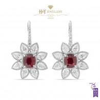 Vivid Red Mozambique Ruby Diamond Earrings - 14.96 ct