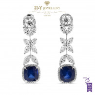 White Gold Cushion Cut Sapphire  and Pear and Brilliant Cut Diamond Earrings - 11.62 ct