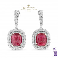 Cabochon Ruby Earrings with Diamonds - 14.84 ct