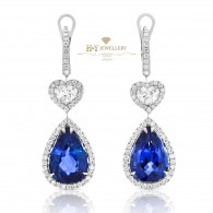 White Gold Pear Cut Sapphire Earrings with Diamonds - 14.41 CT