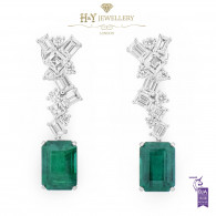 White Gold Zambian Emerald and Mixed Cut Diamond Earrings - 17.76 ct