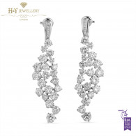 White Gold Brilliant Cut Diamond Statement Earrings - 10.38 ct