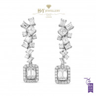 White Gold Emerald Cut Dangle Earrings - 4.17 ct