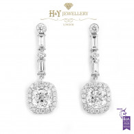 White Gold Cushion and Baguette Cut Diamond Earrings - 2.72 ct