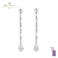 White Gold Mixed Cut Diamond Earrings - 3.40 ct