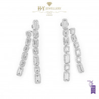 White Gold Baguette and Brilliant Cut Dangle Earrings - 8.67 ct