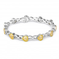 White Gold Fancy Yellow Heart Bracelet - 9.53 ct
