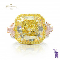 Fancy Yellow and Pink Diamond Ring -  12.77 CT