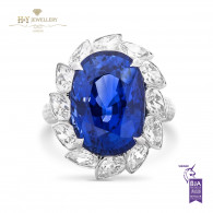 White Gold Sapphire Ring with Diamonds - 16.64 ct