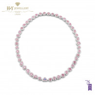 White Gold Fancy Mixed Cut Pink and Trilliant Cut Blue Diamond Necklace - 18.84 ct