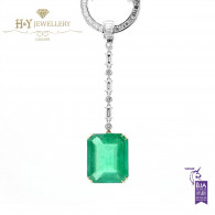 White Gold Brazilian Emerald Necklace with Mixed Cut White Diamonds - 26.64 ct