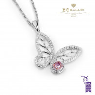 Buttefly Pendant with Pink Diamonds - 1.03 ct