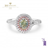 White Gold Oval Cut Green Diamond Ring - 1.47