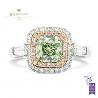 Light Yellow Green Diamond Ring - 1.74 ct