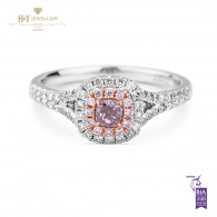 Fancy Pink Radiant Cut Diamond Ring - 0.56 ct