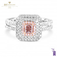 Fancy Pink Radiant Cut Diamond Ring - 0.92 ct