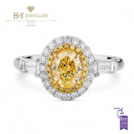 White Gold Oval Fancy Yellow Halo Diamond Ring - 1.71 ct
