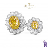 White Gold Double Flower Fancy Yellow Ring - 4.73 ct