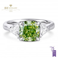 White Gold Fancy Green Cushion Cut Diamond Ring - 2.97 ct