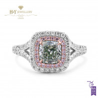 White Gold Cushion Cut Fancy Green Diamond Ring - 1.74 ct