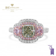 White Gold Fancy Green Cushion Cut Diamond Ring - 2.32 ct