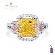 White Gold Fancy Intense Yellow Cushion Cut Diamond Ring - 2.51 ct