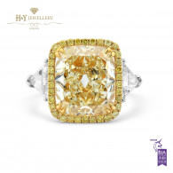 White Gold Cushion Cut Fancy Yellow Diamond Ring - 6.85