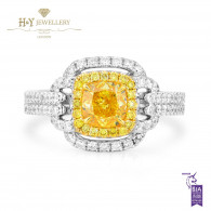 White Gold Fancy Vivid Yellow Cushion Cut Diamond Ring - 1.82 ct