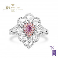 White Gold Fancy Pink Pear Shape and White Diamond Ring - 1.05 ct