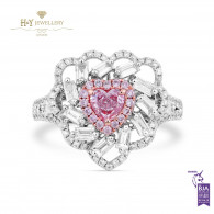 White Gold Fancy Pink Heart Cut Diamond Ring - 1.30 ct