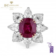 White Gold Oval Burma Mogok Ruby with Diamonds - 12.44 ct