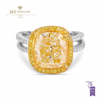 White and Yellow Gold with Yellow Diamonds Ring - 6.22 ct