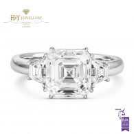White Gold Asher Cut Diamond Ring - 3.58 ct