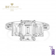 White Gold Emerald Cut Diamond Ring - 3.13 ct