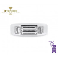 White Gold Rectangular Step Cut Ring set with Tapered Baguette Diamonds and a small Ruby - 2.41 ct