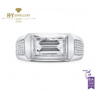White Gold Rectangular Step Cut Ring set with Brilliant Cut Diamonds - 2.16 ct