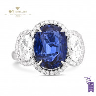 White Gold Oval Vivid Blue Sapphire and Oval Diamond Ring - 8.03 ct