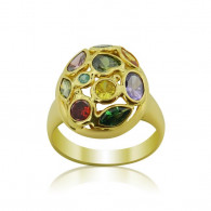 Yellow Gold Oval Multi Colored Ring